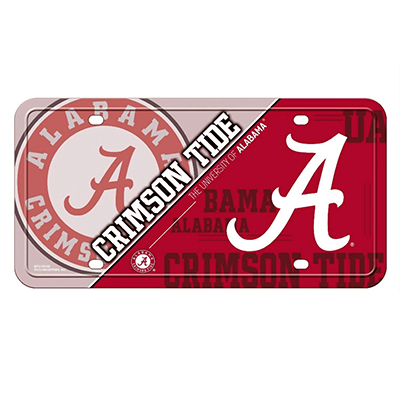 Alabama Script A And Circle Logo Metal Tag Plate