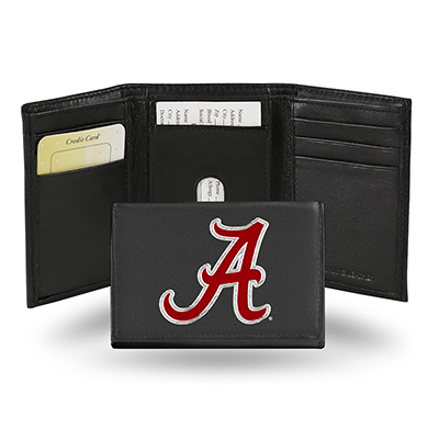 Script A Embroidered Trifold Wallet