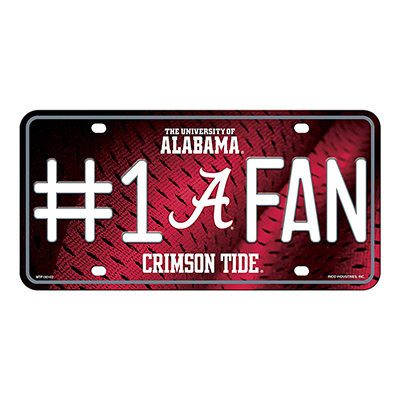 Alabama Script A Number One Fan Metal Tag Plate
