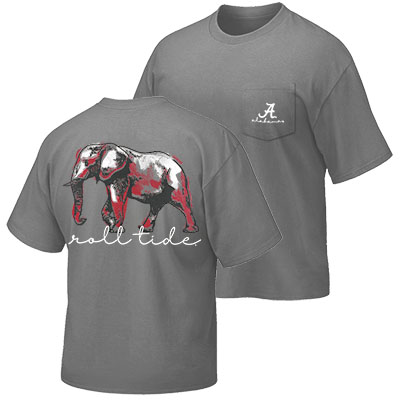 Alabama Elephant Roll Tide T-Shirt With Pocket