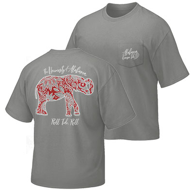 The University Of Alabama Boho Floral Elephant T-Shirt With Pocket