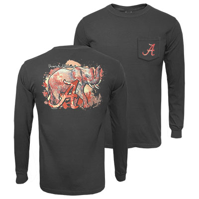 Alabama Fall Watercolor Elephant Long Sleeve Pocket T-Shirt