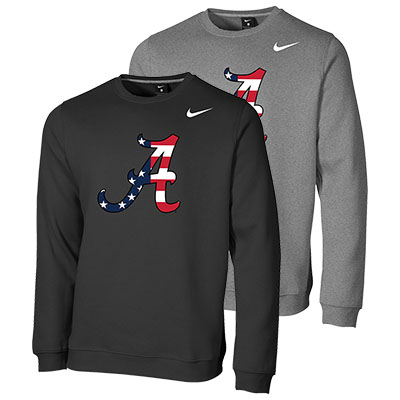 Alabama Nike Americana Script A Club Fleece Crew Sweatshirt