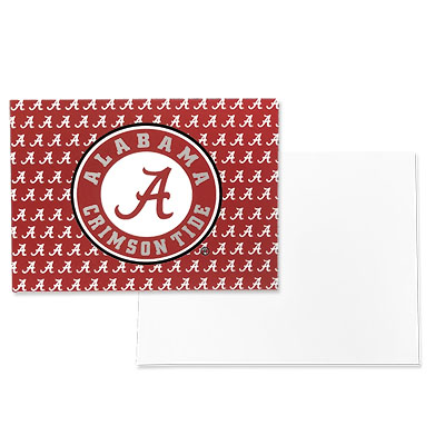 Alabama Circle Logo With Script A's Note Card With Envelope Set Of Ten