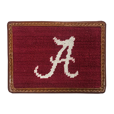 Alabama Script A Embroidered Credit Card Wallet