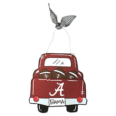 Alabama Truck With Footballs Wood Ornament