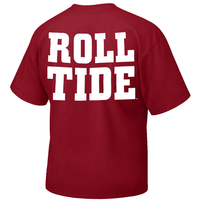Alabama Over Script A On Front With Roll Tide On Back T-Shirt (SKU 13333447102)
