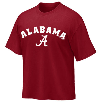 ALABAMA OVER SCRIPT A ON FRONT WITH ROLL TIDE ON BACK T-SHIRT