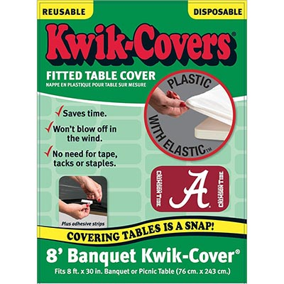 Kwik Kover Fitted Plastic Table Cover With Elastic