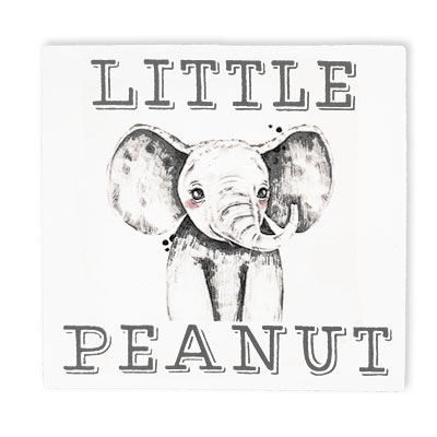 Little Peanut Block Sign With Elephant