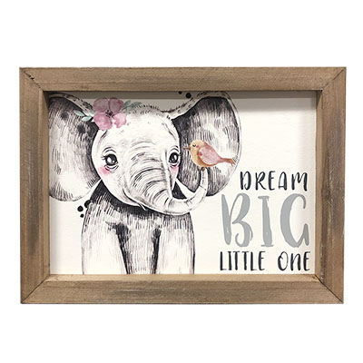 Dream Big Framed Sign With Elephant