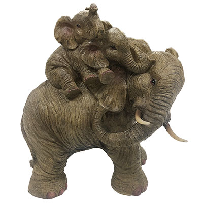 Large Elephant Mom With Two Babies Statue