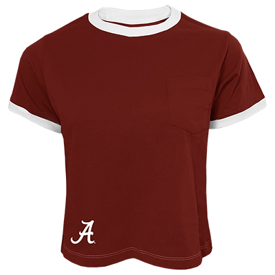 Script A Ringer Crop T-Shirt With Pocket