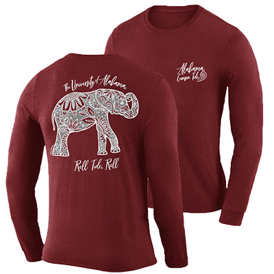 The University Of Alabama Boho Floral Elephant Long Sleeve T-Shirt