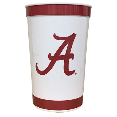 ALABAMA MEMORABLES SET OF 5 STADIUM CUPS STRIPED WITH SCRIPT A