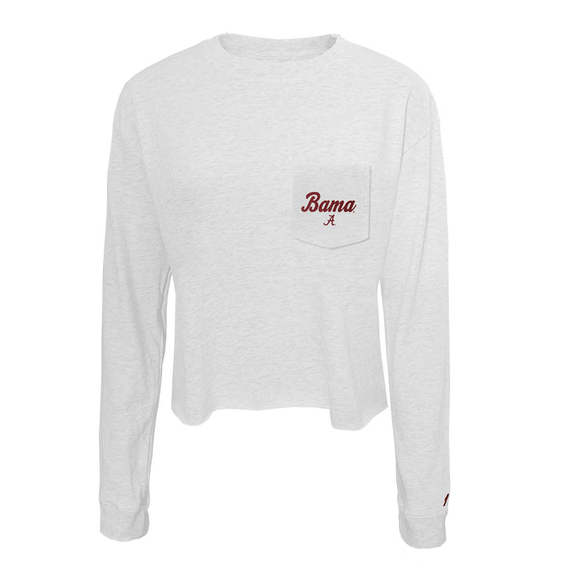Bama Script A On Pocket Clothesline Cotton Long Sleeve Crop (SKU 13380595207)