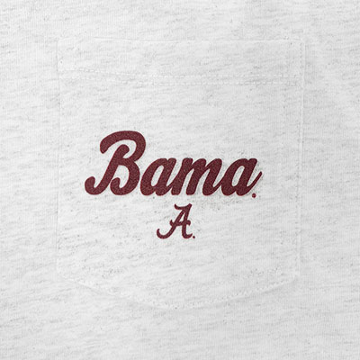 BAMA SCRIPT A ON POCKET CLOTHESLINE COTTON LONG SLEEVE CROP