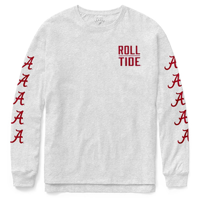 Roll Tide With Script On Sleeve Clothesline Cotton Long Sleeve T-Shirt