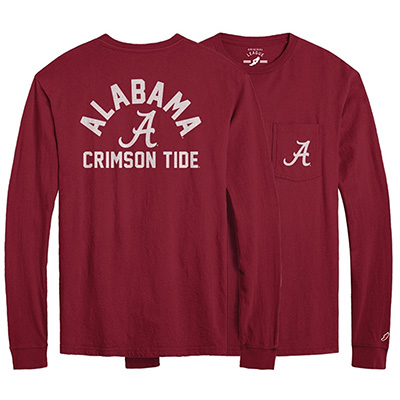 The University Of Alabama Script A With Crimson Tide On Sleeve All Amercian Long Sleeve Pocket T-Shirt