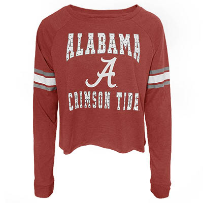 Alabama Crimson Tide Whimsical Long Sleeve Waist Length Crop T- Shirt