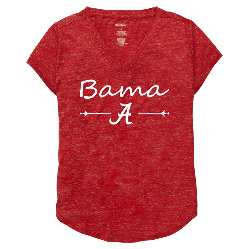 Bama Over Script A Snow Heather Short Sleeve V-Neck T-Shirt (SKU 1343817341)