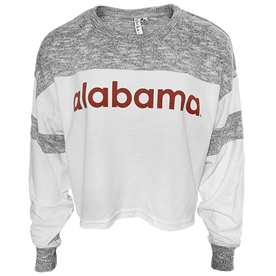 Alabama Cozy Colorblock Waist Length Crop Pullover
