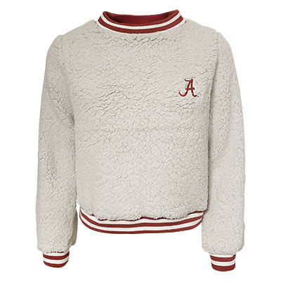 Script A Alabama Sherpa Striped Trim Crewneck Waist Length Sweatshirt
