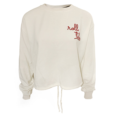 Roll Tide Fleece Drop Shoulder Long Sleeve Crew With Cinch Bottom