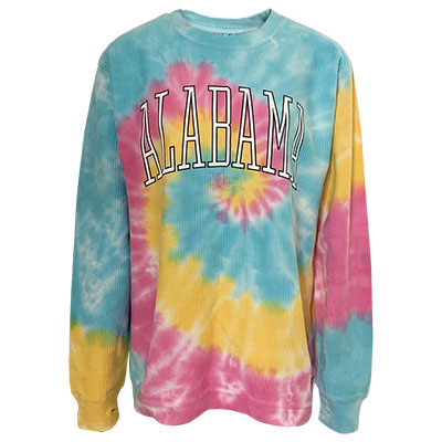 Alabama Rainbow Tye Dye Corded Crew