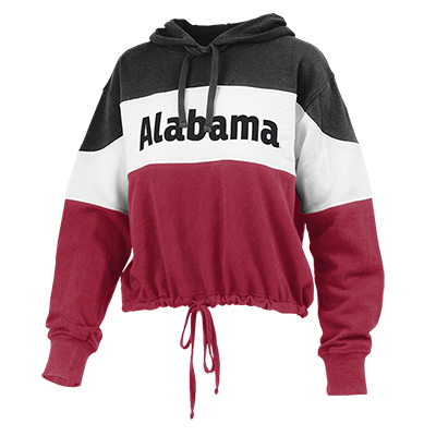 Alabama French Terry Tri Color Retro Crop Front Tie Hoodie