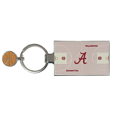 Alabama Basketball And Basketball Court Key Tag