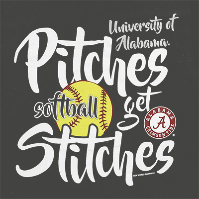 UNIVERSITY OF ALABAMA SOFTBALL PITCHES GET STITCHES T-SHIRT