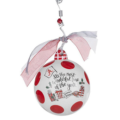 ALABAMA COLLEGIATE BALL ORNAMENT - ROLL TIDE ROLL - WONDERFUL TIME OF YEAR