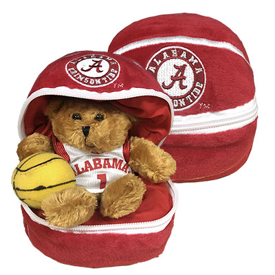 Alabama Zipper Basketball With Bear