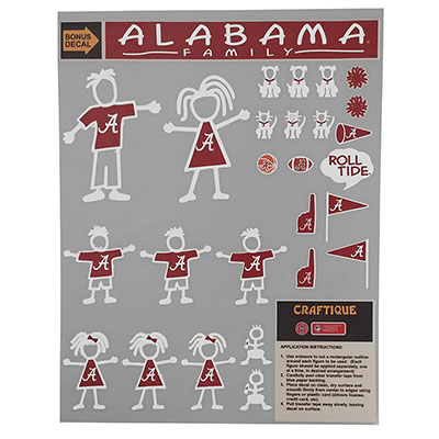 Alabama Family Decal Sheet