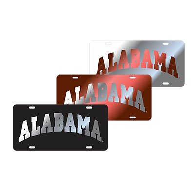 Alabama Arched Laser Cut Inlaid Mirror Tag