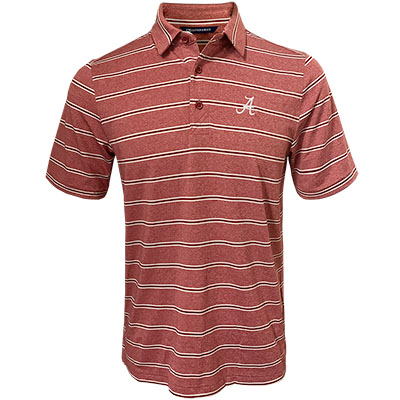 Alabama Script A Forge Heather Stripe Polo