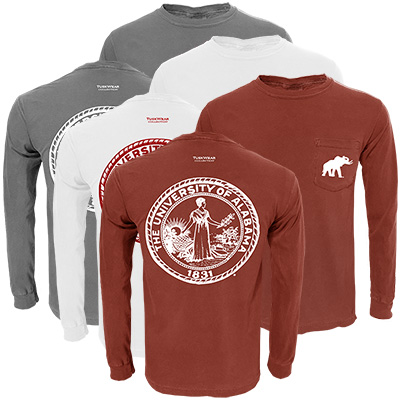 The University Of Alabama Single Color Distressed Crest Long Sleeve T-Shirt