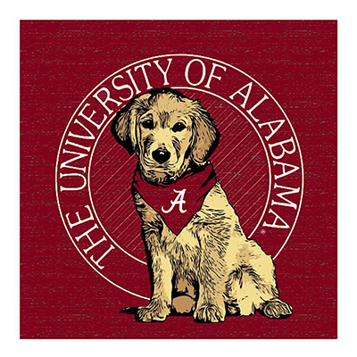 University Of Alabama Dog Square Wood Block