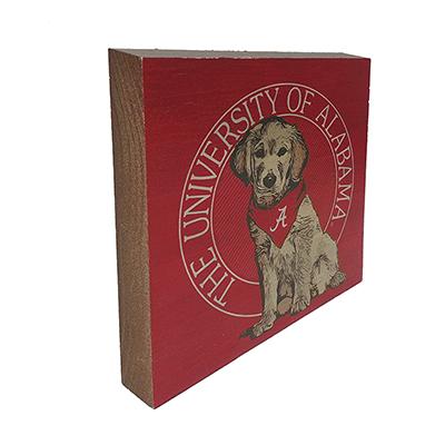 UNIVERSITY OF ALABAMA DOG SQUARE WOOD BLOCK