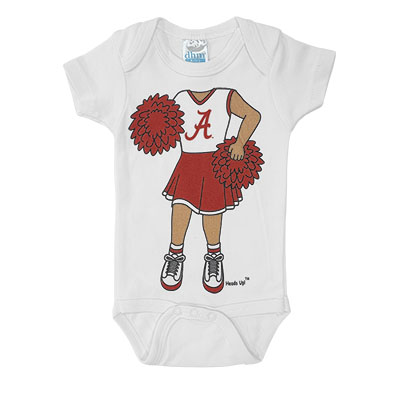 Alabama Heads Up Cheerleader Onesie