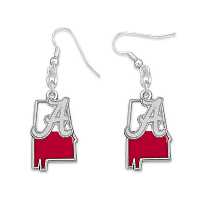 Alabama Red & White Script A State Earrings