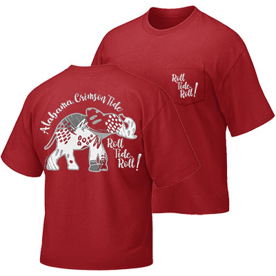 Alabama Crimson Tide Roll Tide Roll Abstract Pattern Comfort Color Pocket T-Shirt