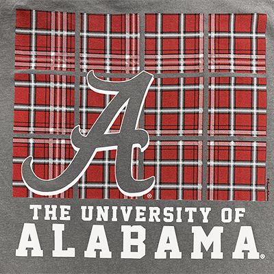 THE UNIVERSITY OF ALABAMA SCRIPT A TARTAN BLOCKS COMFORT COLOR T-SHIRT