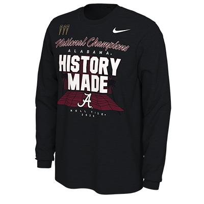 Alabama Roll Tide Script A History Made National Champions Locker Room Long Sleeve T-Shirt