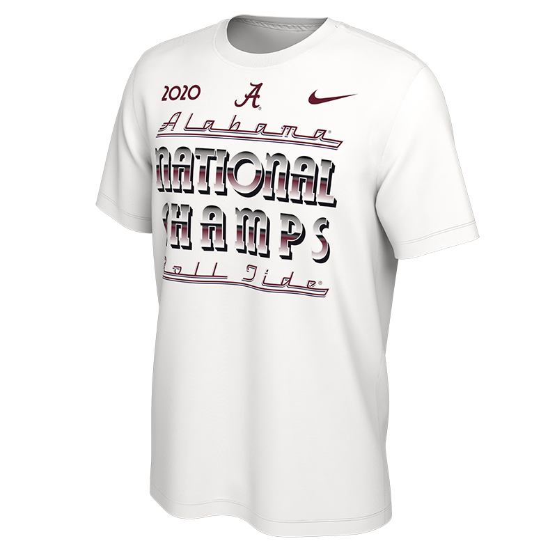 Alabama Roll Tide Script A National Champions Celebration T-Shirt (SKU 13543792279)