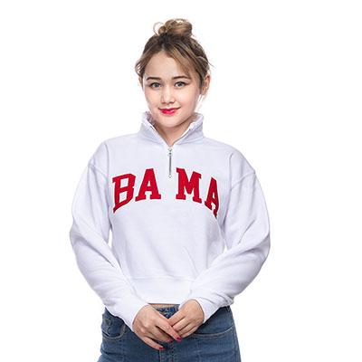 BAMA QUARTER ZIP CROP SWEATSHIRT