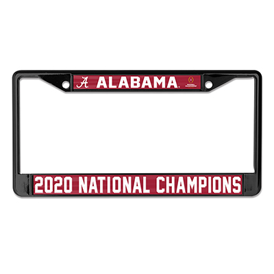 Alabama 2020 National Champions Mirrored Metal License Plate Frame