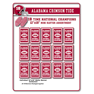 Alabama 2020 National Champions Mini Rafter Banner Assortment