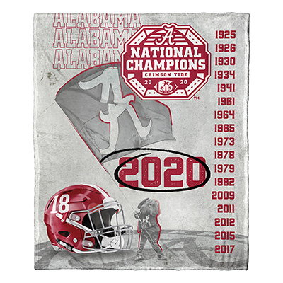Alabama 2020 National Champions Commemorative Silk Touch Throw
